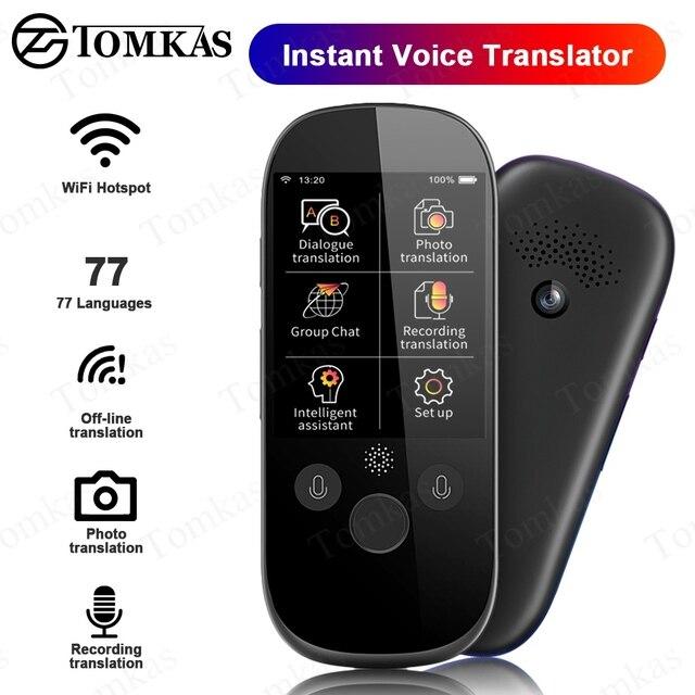 TOMKAS Simultaneous Voice Translator 2.4 Inch WiFi Photo Translation Multi language Portable Smart Voice Translator For Tourism
