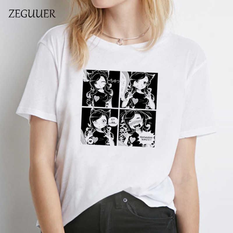Hentai Meisje Ahegao Grappige Print Korte Mouw T-shirts Streetwear Harajuku Casual Tees Shirts Vrouwen Harajuku Zomer Mode Tops