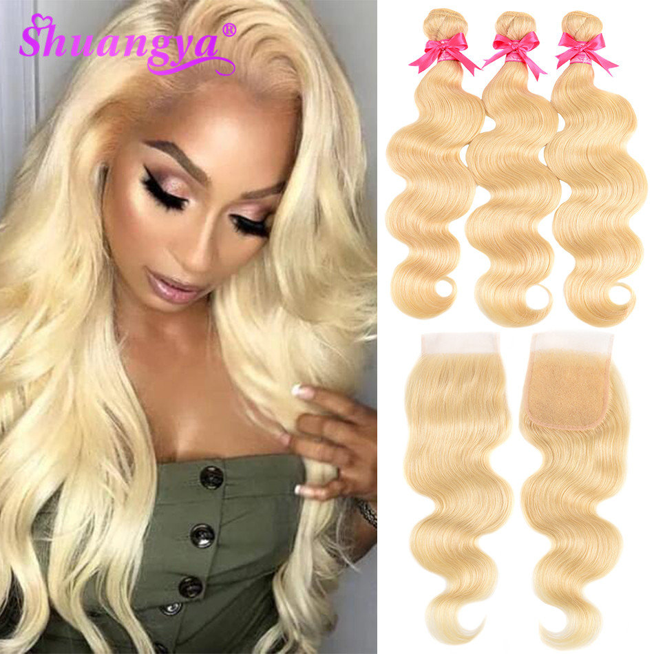 Malaysian Body Wave Bundles With Closure Honey Blonde 613 Bundles With Closure Remy Human Hair Lace Closure With Bundles