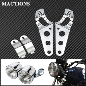 Motorcycle Universal Headlight Bracket Chrome Cafe Racer Mount Stand Support Stainless Steel For Harley Bobber Chopper Sportster