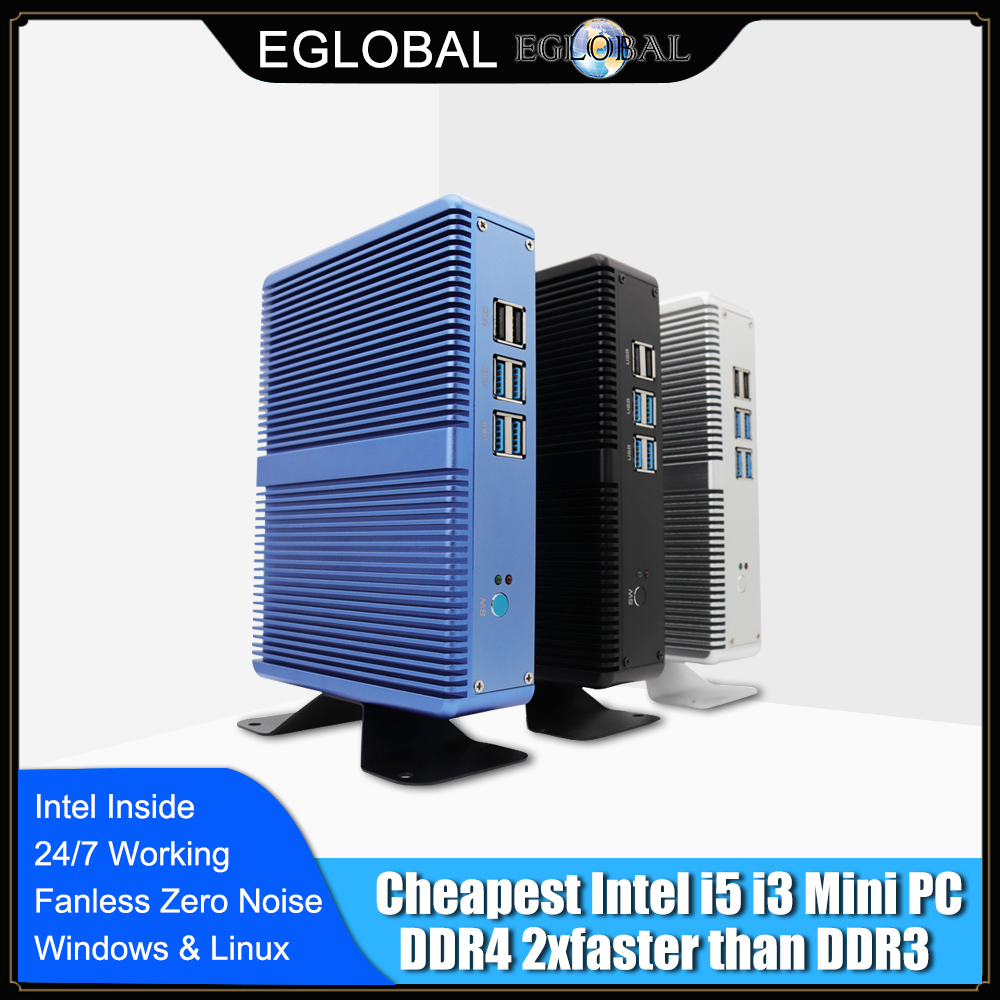 Дешевый процессор Eglobal Fanless мини-компьютер Windows 10 Intel i7 i5 i3 Barebone PC 6 * USB Msata SSD 2,5 дюймов HDD HTPC 300M Wifi VGA HDMI