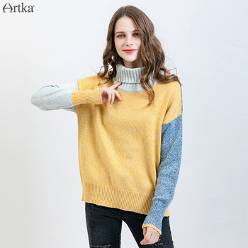 ARTKA 2019 Autumn Winter New Women Wool Sweater Fashion Color Stitching Sweater Casual Turtleneck Sweater For Women YB10690Q