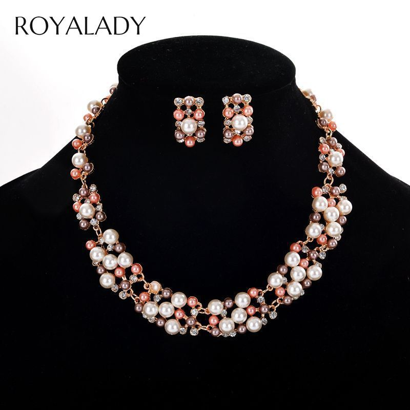 Classic Simulated Pearl Bridal Jewelry Sets White Colorful Flower Necklace Earrings Sets Costume Pearl Wedding Jewelry Sets Gift
