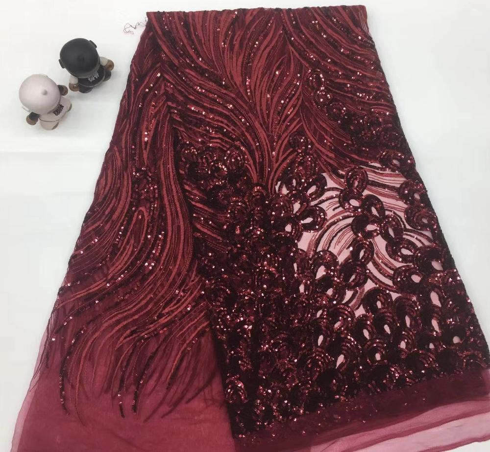 New Arrival  High Quality African Nigerian Sequins Tulle Lace Fabric Fashion African French Lace Fabric For Dress TS9036