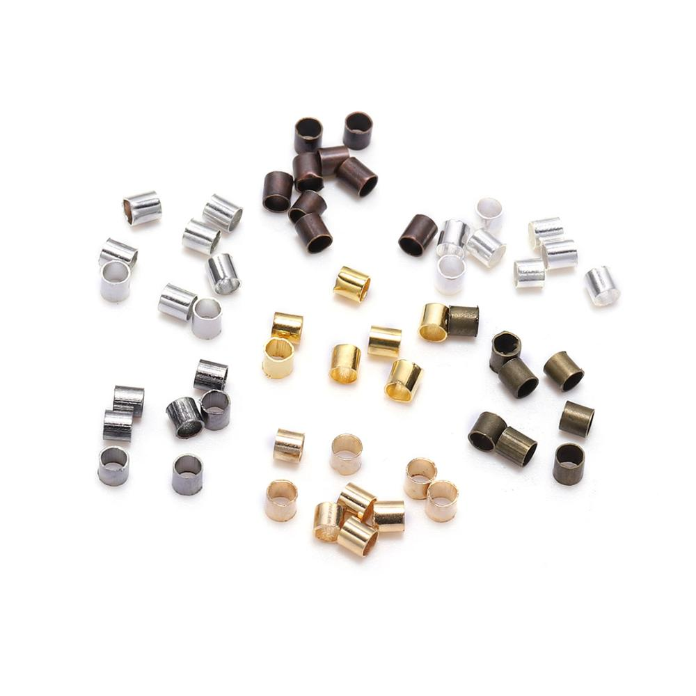 500pcs 1.5 2.0 2.5mm Gold Copper Tube Crimp End Beads Stopper Spacer Beads For Jewelry Making Findings Supplies Necklace(China)