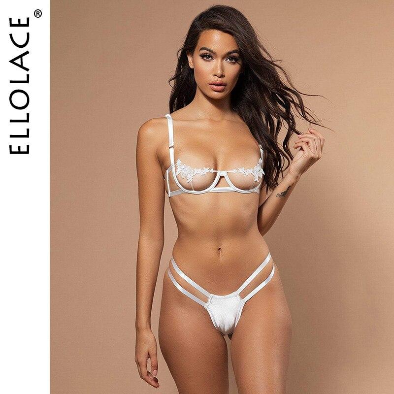 Ellolace Sexy Underwear Women Set Mesh Lingerie 2 Piece Set See Through Bralette And Thong Bandage G-String Spaghetti Straps