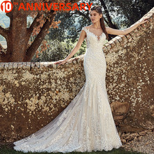 BAZIIINGAAA  Elegant Lace Mermaid Wedding Dress Full Floral Print Lace Up Church Suitable for Wedding Africa Europe Bride