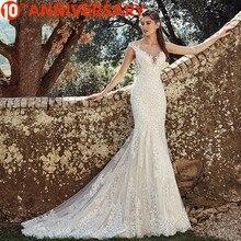 BAZIIINGAAA zarif dantel Mermaid düğün elbisesi tam çiçek baskı dantel Up kilise düğün için uygun afrika avrupa gelin