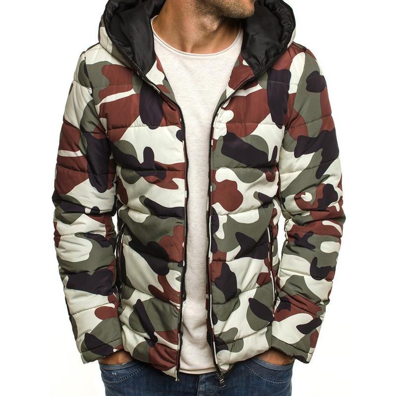 Brand Men Autumn Winter Jacket Coat Casual Camouflage Hooded Men Parkas Cotton Overcoat Warm Clothes Streetwear