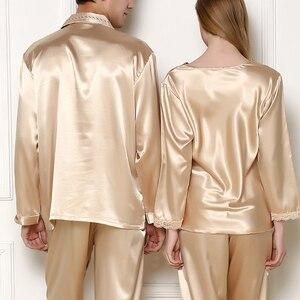 Image 3 - New Silk Sleepwear Women Sexy Couple Pajamas Spring And Summer High end Customized Silk Men Pijamas Set Lace Pyjamas