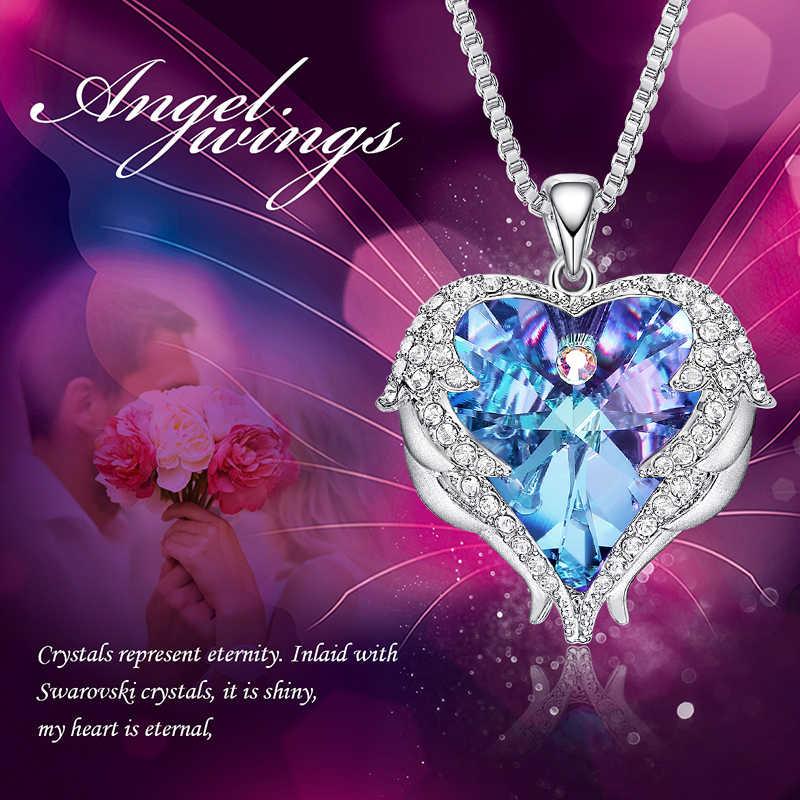 CDE נשים כסף צבע שרשרת קשט עם קריסטלים סברובסקי שרשרת מלאך כנפי לב תליון האהבה מתנה