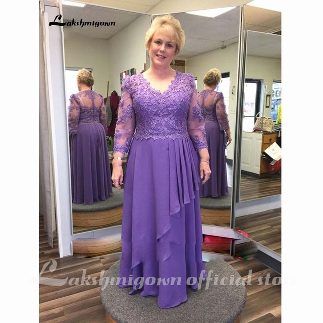 Purple Lace Chiffon Mother of the Bride Dress Plus Size Long Sleeve V Neck Floor Length Wedding Party Prom Formal Evening Gowns 2