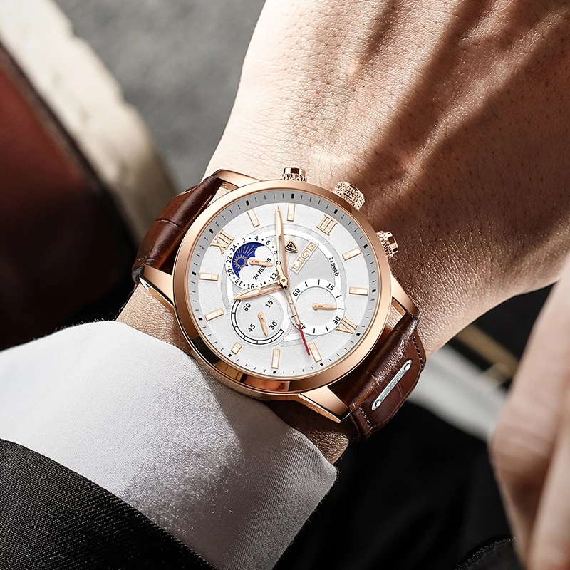 2021 LIGE Watches Mens Top Brand Luxury Clock Casual Leathe 24Hour Moon Phase Men Watch Sport Waterproof Quartz Chronograph+Box 5