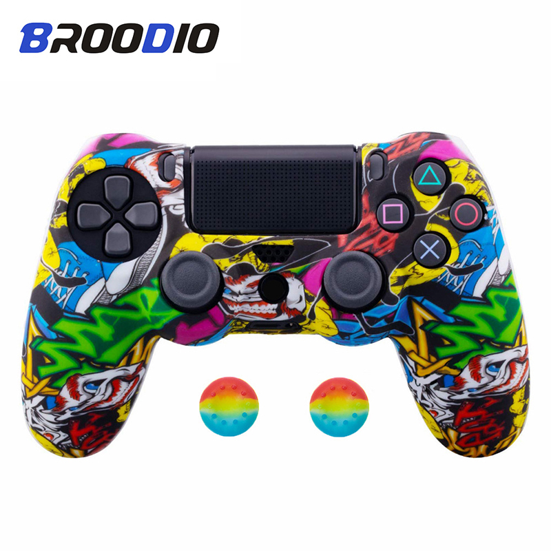 Anti-slip Silicone Camo Protective Skin Case For SONY Playstation 4 PS4 DS4 Pro Slim Gamepad Controller Protection Joystick Caps