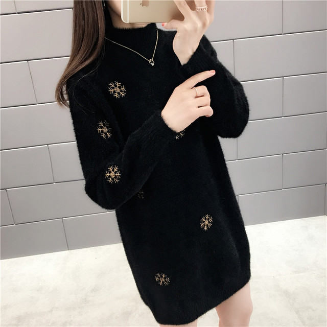 With winter half a turtleneck imitated mink knitted snowflakes in long sweater 45 4