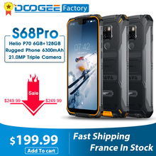 IP68 Waterproof DOOGEE S68 Pro Rugged Phone 6GB 128GB Helio P70 Cellphones 21MP+8MP+8MP 6300mAh 5 9 inch FHD 12V 2A Smartphone cheap Not Detachable Android Fingerprint Recognition Face Recognition Up To 150 Hours Other Adaptive Fast Charge Smart Phones