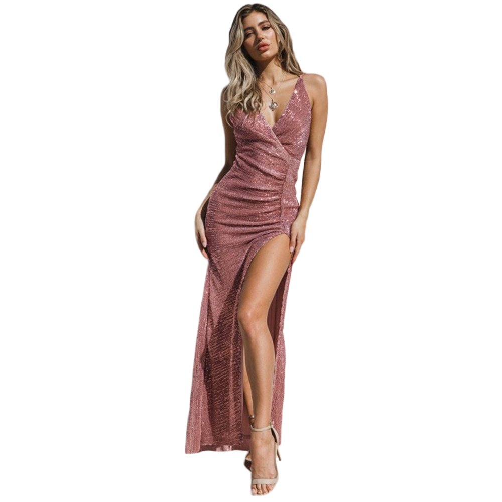 Elegant 2020 Ladies Evening Dresses Sequins Backless High Slit Maxi Dress Bodycon Party Gown Formal Dress Bestidos De Gala D30