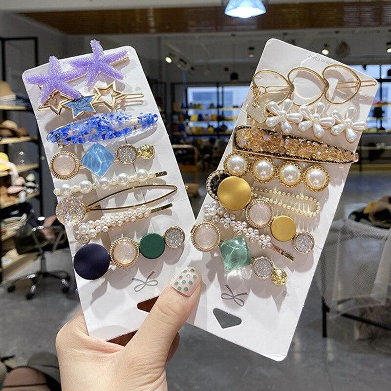 Ручной работы, с жемчужной отделкой; Заколки для волос комплект ювелирных изделий для женщин модные геометрические цветок заколки контактн...