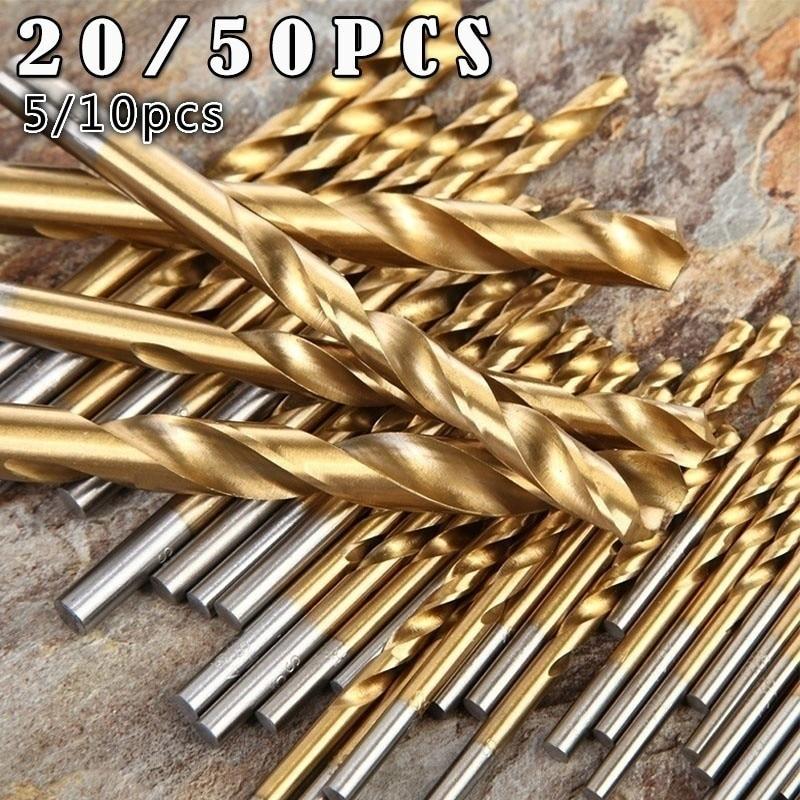 50pcs 1/1.5/2/2.5/3mm Titanium Coated HSS High Speed Steel Drill Bit Set Without Case