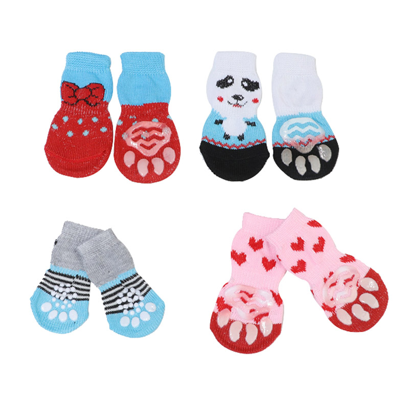 4 Pcs Pet Puppy Dog Socks Anti-slip Knitting Breathable Elasticity Warm Winter Indoor DC120