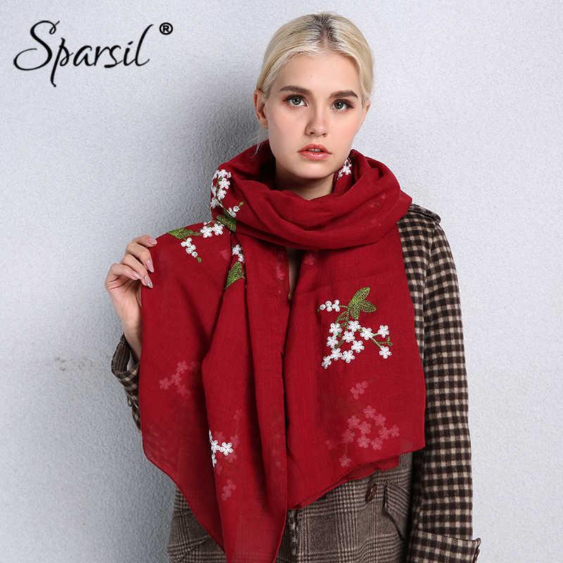 Sparsil новые весенние женские цветочные шарфы с вышивкой длинный хлопковый льняной головной шарф модные повседневные шали Hijabs для леди мусульманская обертка