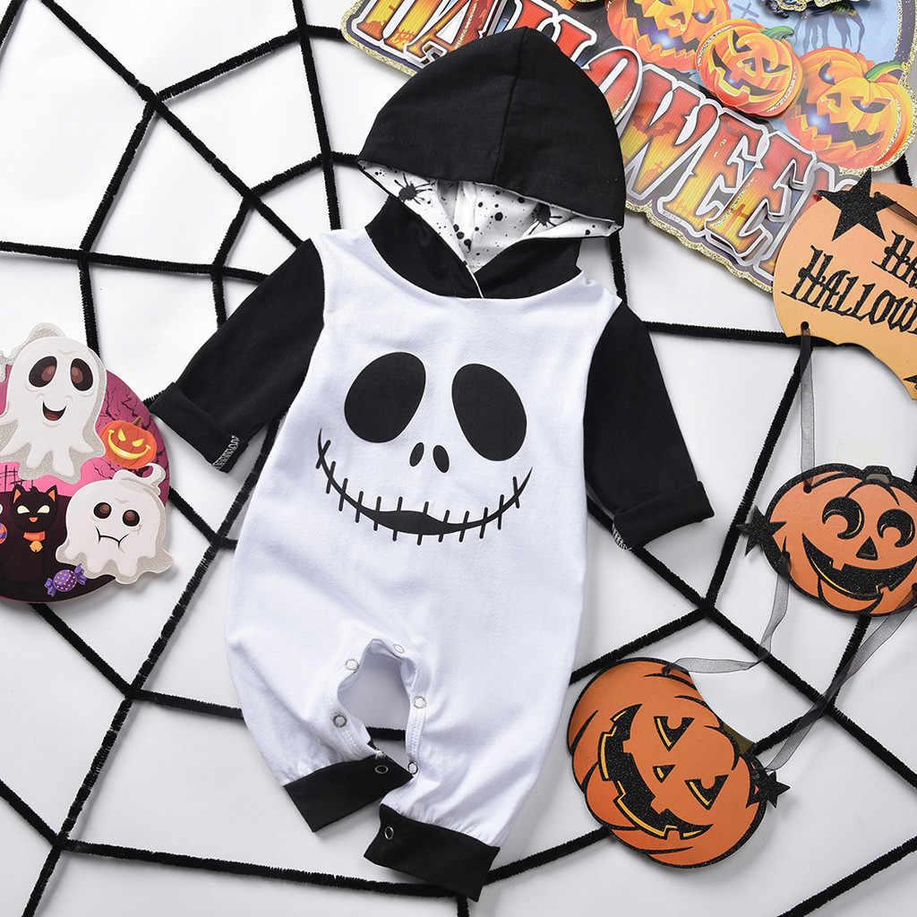 Bayi Anak Laki-laki Anak Halloween Kartun Tengkorak Cetak Bertudung Baju Monyet Jumpsuit Pakaian Musim Gugur 2019 Bayi Laki-laki Jumpsuit Bayi Baru Lahir Overall