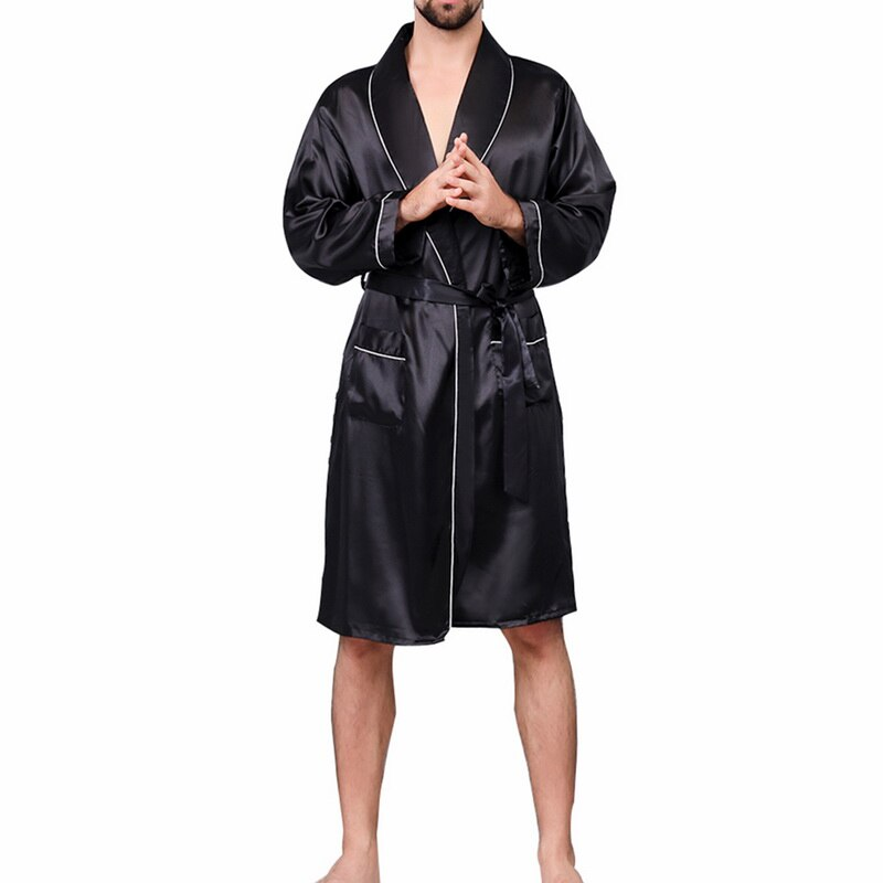OEAK Men Black Lounge Sleepwear Faux Silk Nightwear For Men Comfort Silky Bathrobes Noble Dressing gown Men's Sleep Robes