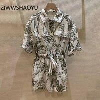 ZIWWSHAOYU Women Summer Green Plants Print Cotton Linen Playsuits Runway Designer Ladies Pocket Drawstring Waist Vintage Rompers
