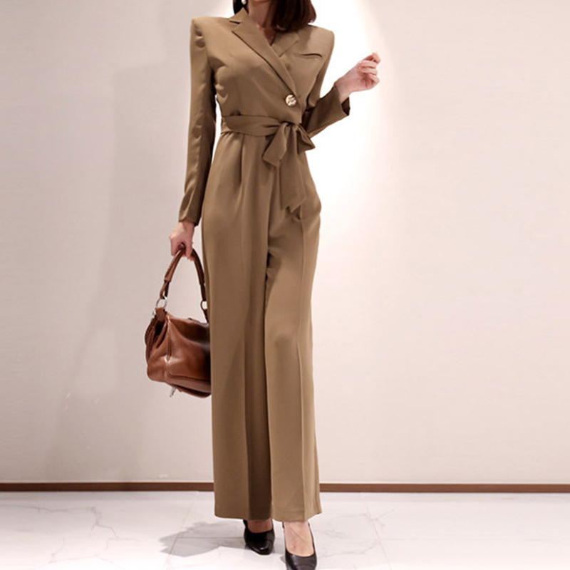 Fashion Spring Work Style Women Temperament Outdoor Comfortable Solid Jumpsuit Cute Casual High Waist High Quality Long Jumpsuit