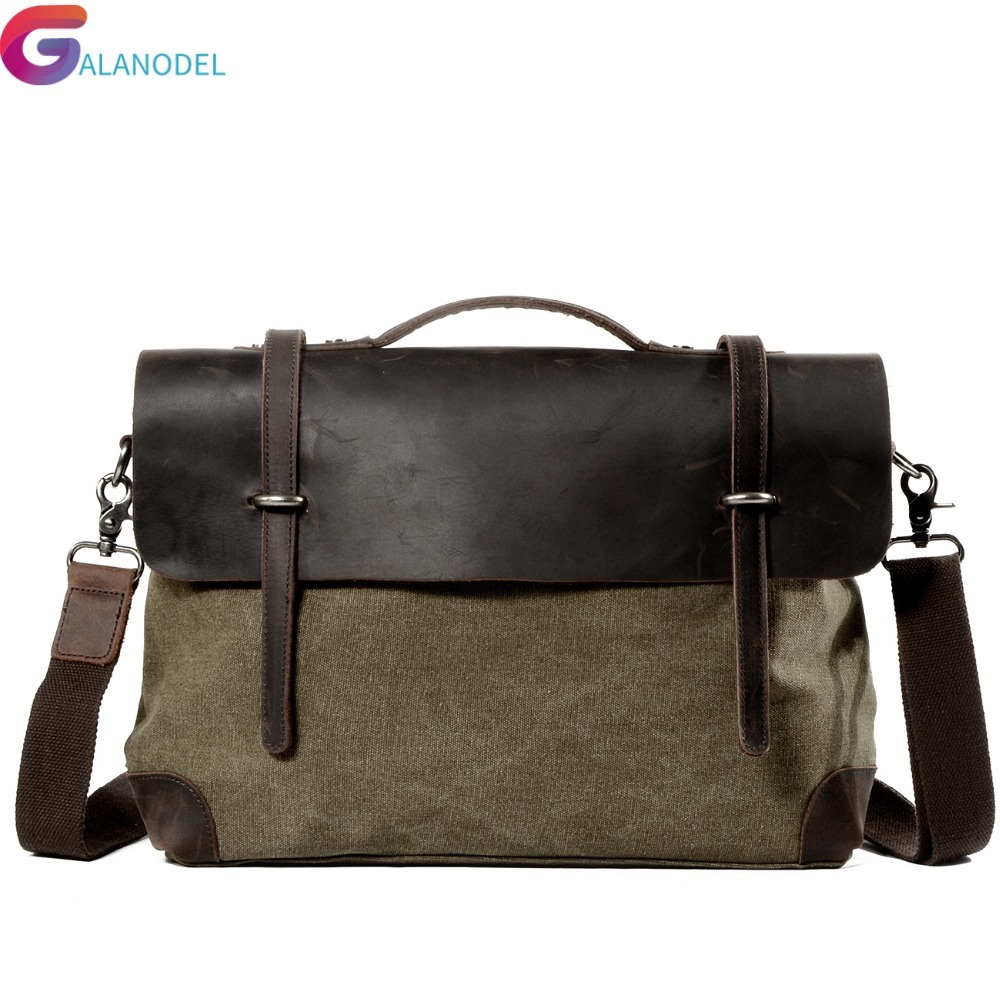 Package Cowhide Crazy Match Canvas Single Package Male Man Business Affairs Leisure Time Portable Oblique Satchel Briefcase