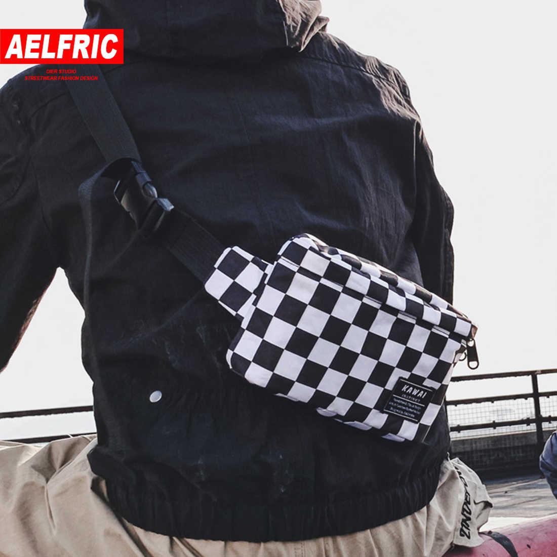 AELFRIC Hip Hop 2019 Nieuwe Mode Vrouwen Mannen Bum Bag Leisure Plaid Schoudertas Fanny Pack Brief Telefoon Heuptas packs Streetwear