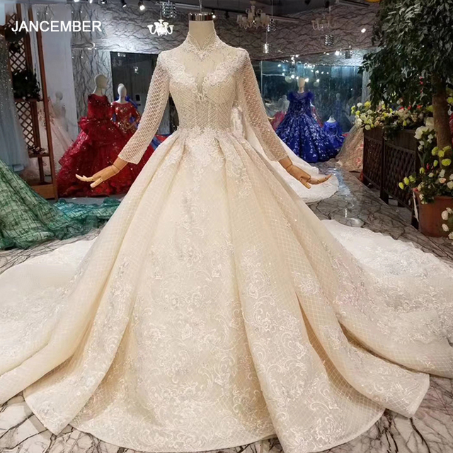 LSS446 ארוך שרוולי חתונת שמלות גבוהה צוואר פתוח keyhole חזרה שמלות כלה תחרה אפליקציות לראות דרך 웨딩 파티 드레스