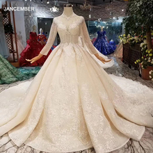 LSS446 long sleeves wedding dresses high neck open keyhole back wedding gowns lace appliques see through 웨딩 파티 드레스