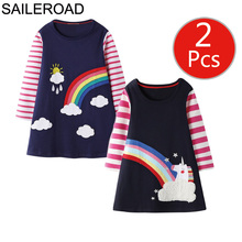 SAILEROAD 2pcs Unicorn Dress Baby Girl Clothes Rainbow Animal Appliques Princess Children Clothing Long Sleeve Kids