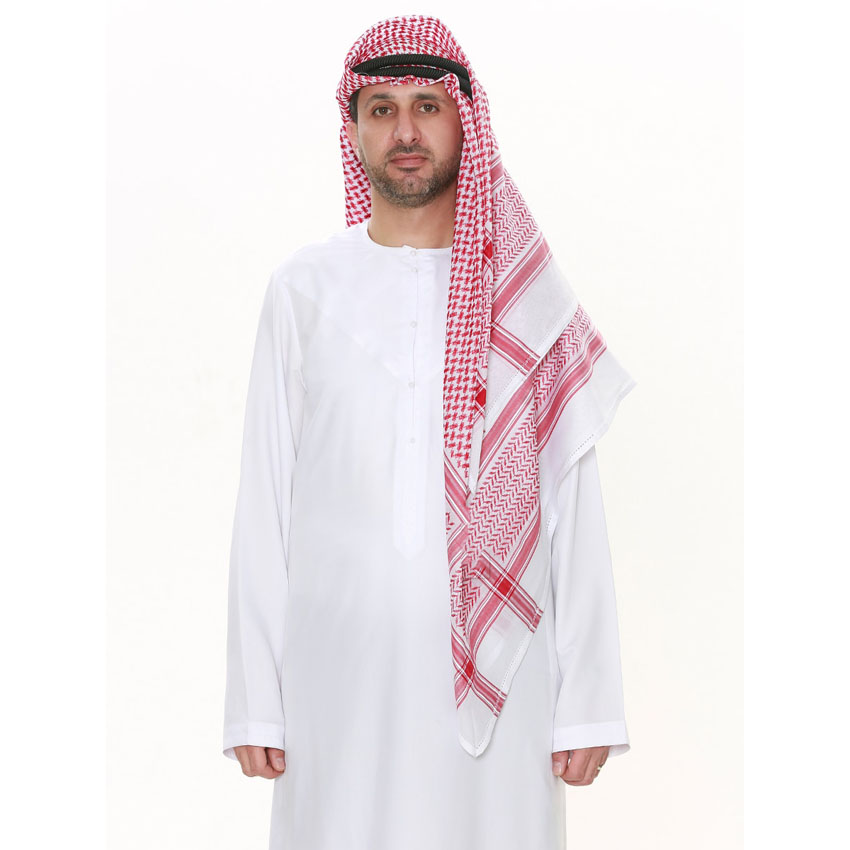 3colors Square Scarf For Muslim Man Red/black/white Islamic Traditional Costumes Male Hijab Prayer Head Scarf Keffiyeh Ramadan