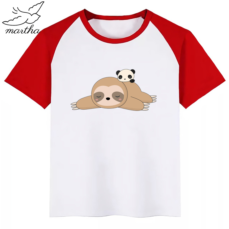 New Summer Print Funny Cartoon Sloth Children T-shirt Short Sleeve O-neck T Shirt Baby Gilrs Casual Tshirt Kids Clothing