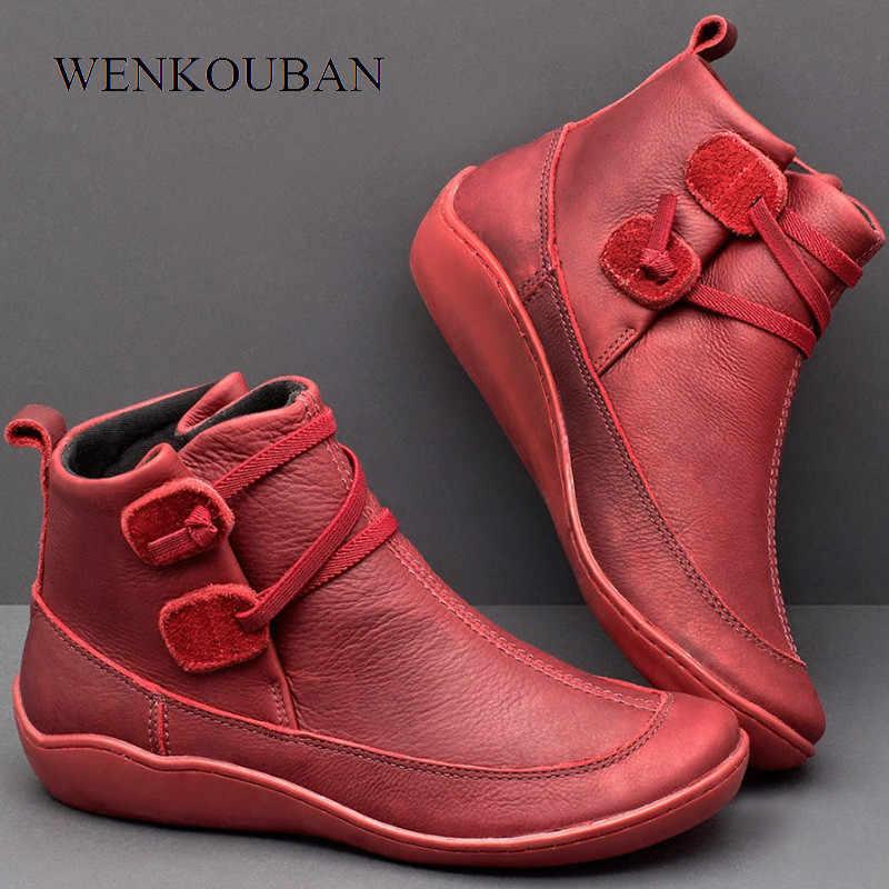 Mắt Cá Chân Giày Cho Nữ Ủng Da Thật Chính Hãng Da Đế Giày Vintage Mùa Thu Mũi Tròn Giày Nữ Phối Ren Bota Feminina 2019