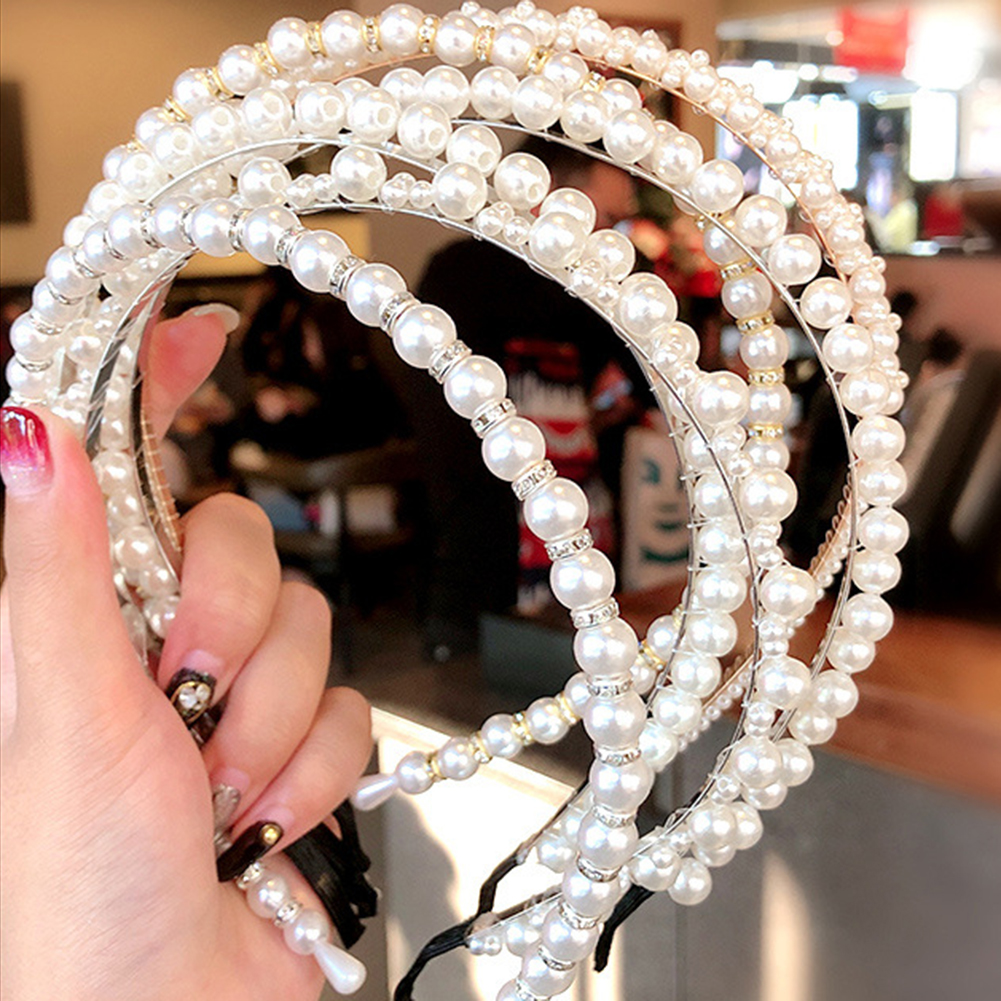 2020 New Women Elegant Full Pearls Hairbands Lady Headband Hair Hoops Holder Ornament Headwear Fashion Hair Accessories|Women