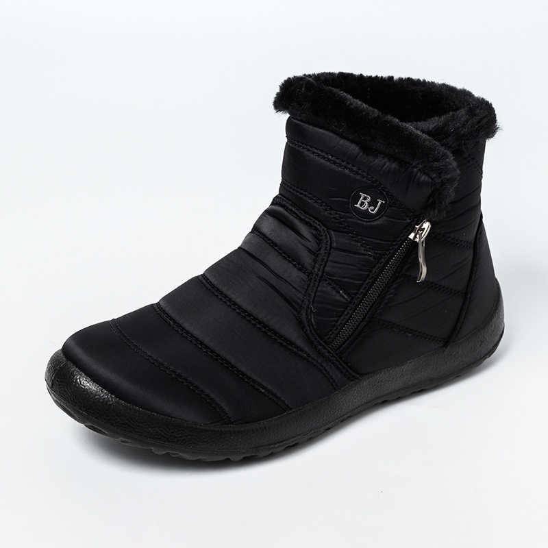 MCCKLE Frauen Schnee Stiefel Flache Baumwolle Stoff Zip Damen Stiefeletten Plüsch Warme Schuhe Casual Komfort Weibliche Mode Schuhe