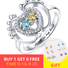 XiaoJing 925 sterling silver rings with birthstone custom engrave small ring name jewelry for Women Anniversary gift New 2019 uny ring 925 sterling silver mother customized engrave rings family heirloom ring anniversary personalized love birthstone rings