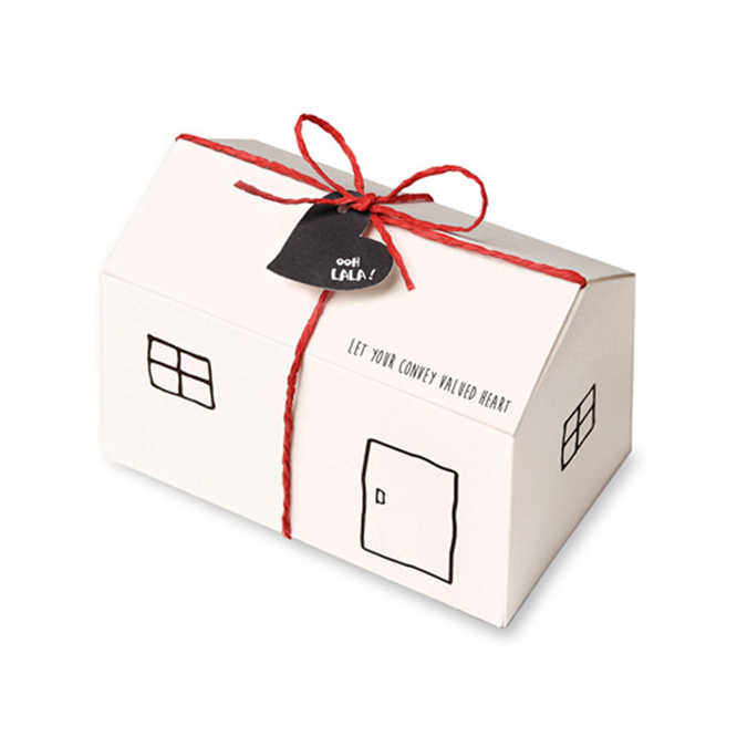 25pcs/Lot Small house shape Bread chocolate candy cookies box for wedding party baby shower large paper favor gift box