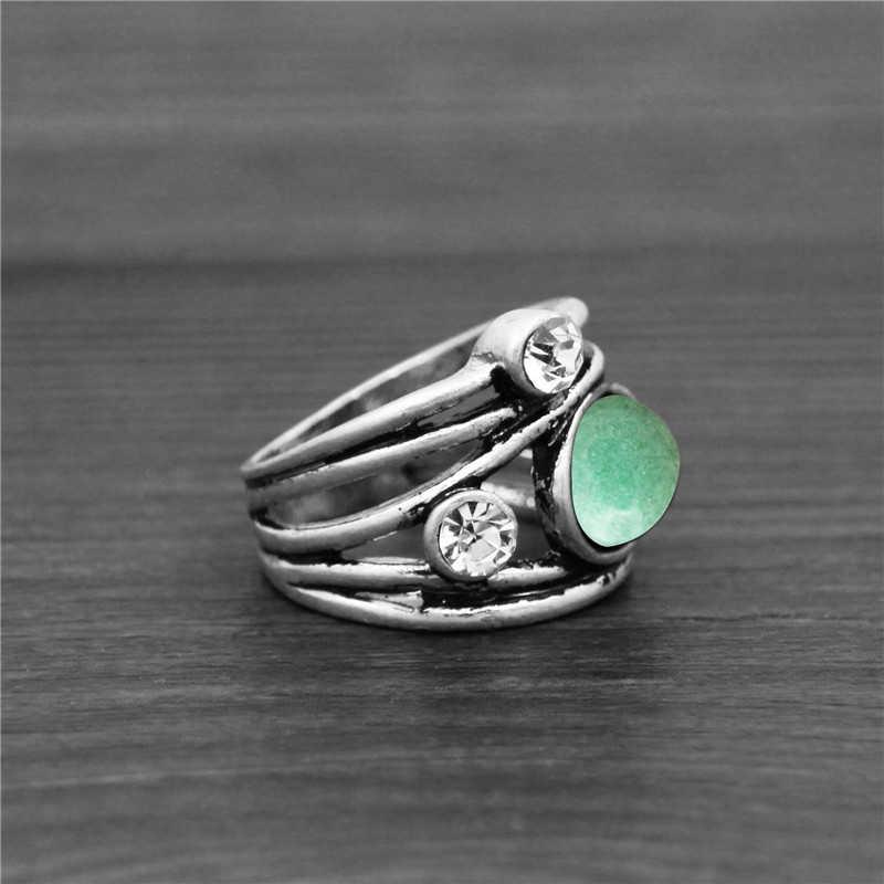 ธรรมชาติ Lapis Jades อเมทิสต์โรงงานแหวนสำหรับผู้หญิง Vintage แฟชั่นผู้หญิงแหวน