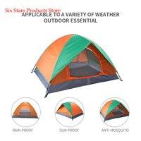 2-pessoa porta dupla barraca de acampamento dome laranja & verde para escalada ao ar livre caminhadas família barraca de acampamento dome atividade