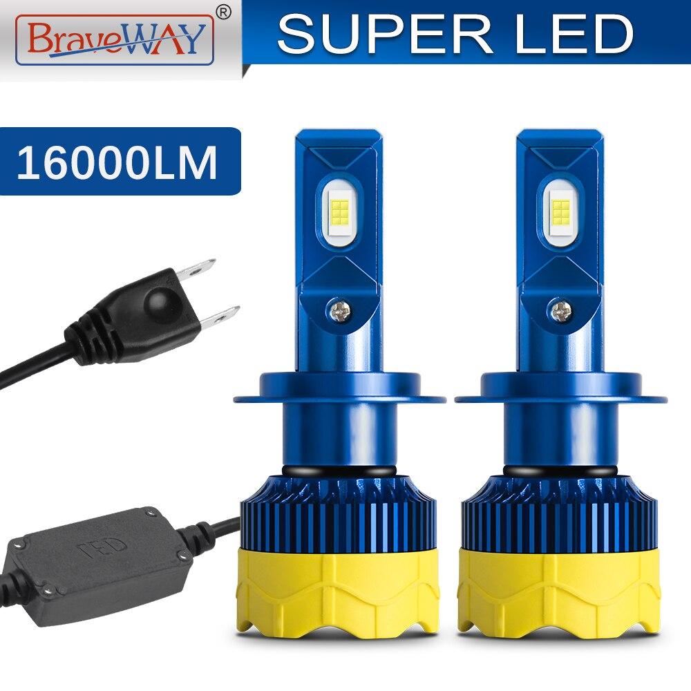 BraveWay CANBUS LED H7 LED H4 Auto voiture phares ampoules 16000LM 80W 6000K 12V lampes automobile moto phare Kit