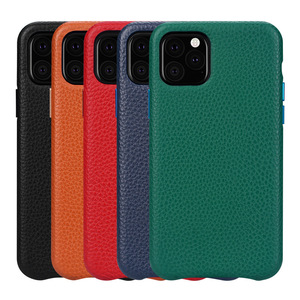 Real Genuine Leather Cover Case For iPhone 7 8 Plus XR XS 11 Pro Max Ckhb-21K Litchi Cowhide Back Phone Case Metal Button(China)
