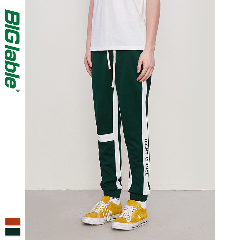 BIG LABLE Mens Side Letter Print Vintage Sweatpants Retro Trousers Men Track Pants Men Women Ins Fashion Pants 8841W