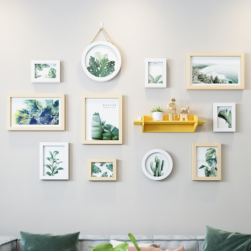 Moderne simplicité cadre Photo décor à la maison frais vert plante fond nordique Restaurant abstrait suspendus Art mural Painti