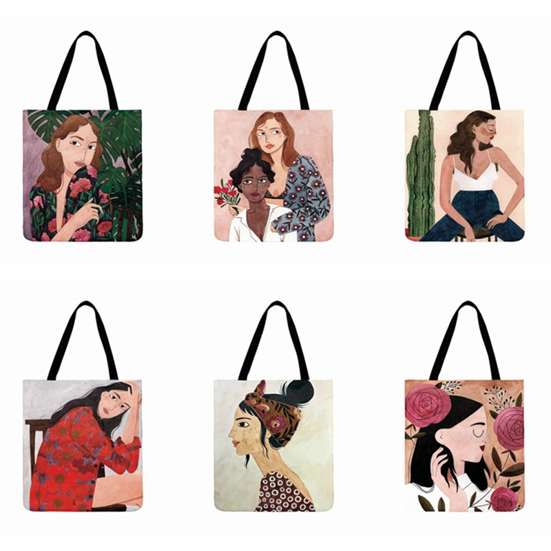Fresh Art Illustration Print Tote Bag Women Casual Tote Ladies Shoulder Bag Reusable Shopping Bag Outdoor Beach Bags Fashion Bag