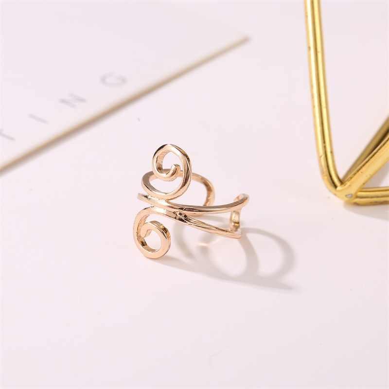 Мода u-образный зажим для ушей двойная линия личности без проколов зажим для на Хрящ уха креативные геометрические спиральные не проколотое ухо кольца