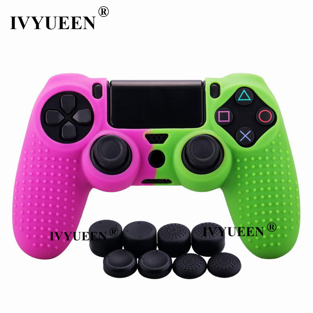 IVYUEEN For PlayStation 4 PS4 Pro Slim Controller Silicone Gel Case Protective Skin Cover With 8 Analog Thumb Stick Grips Cap